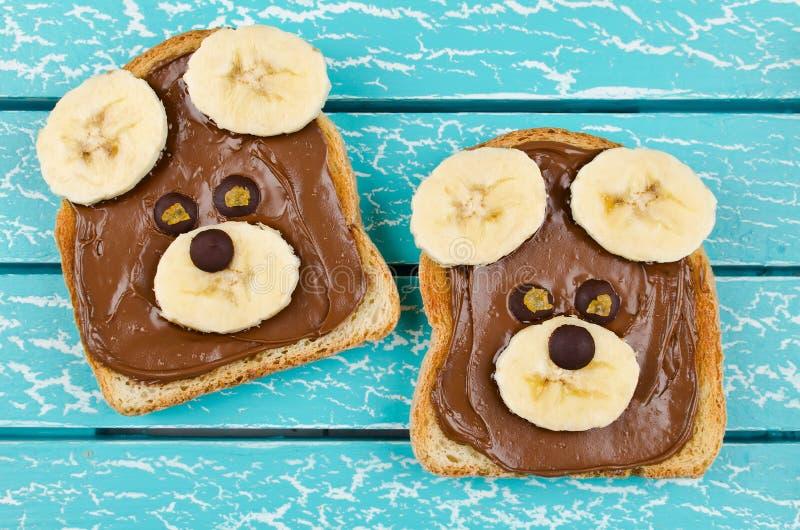 Αστείος αντέξτε το σάντουιτς προσώπου για τα τρόφιμα πρόχειρων φαγητών παιδιών στοκ εικόνα με δικαίωμα ελεύθερης χρήσης