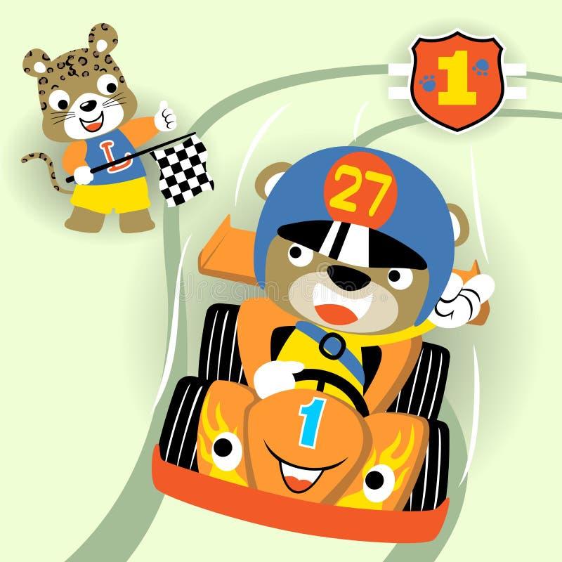 Αστείος ανταγωνισμός αγωνιστικών αυτοκινήτων ζώων, διανυσματική απεικόνιση κινούμενων σχεδίων απεικόνιση αποθεμάτων