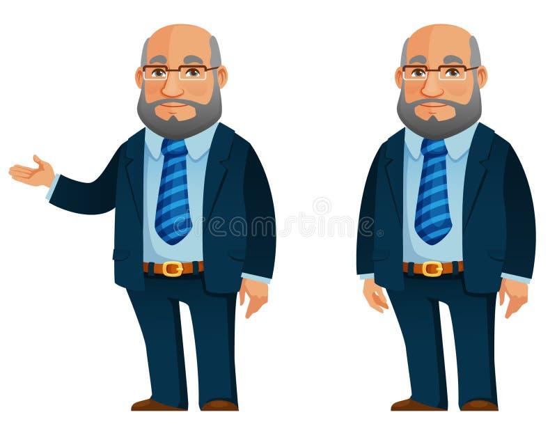 Αστείος ανώτερος επιχειρηματίας στο σκούρο μπλε κοστούμι ελεύθερη απεικόνιση δικαιώματος