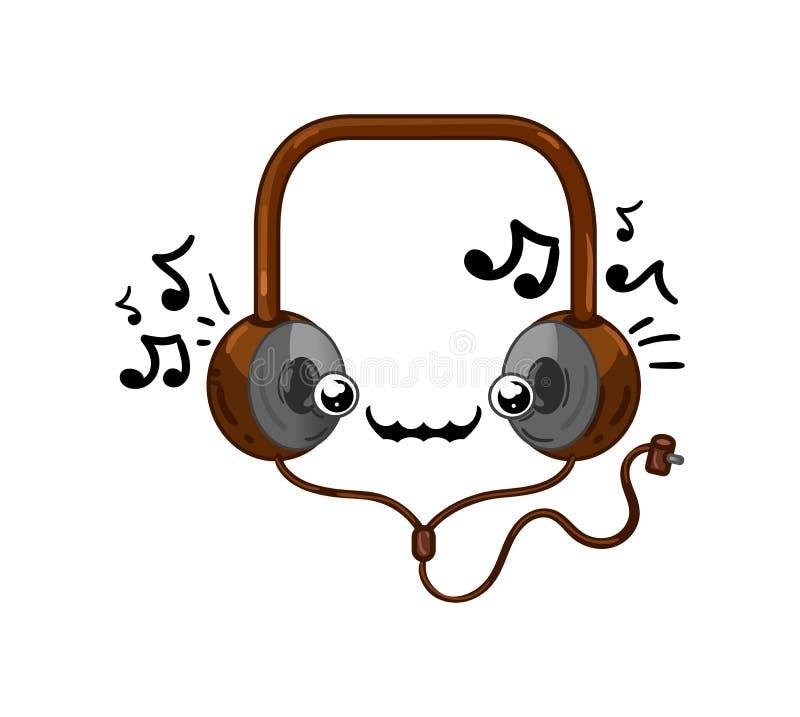 Αστείος απομονωμένος ακουστικά χαρακτήρας κινουμένων σχεδίων διανυσματική απεικόνιση