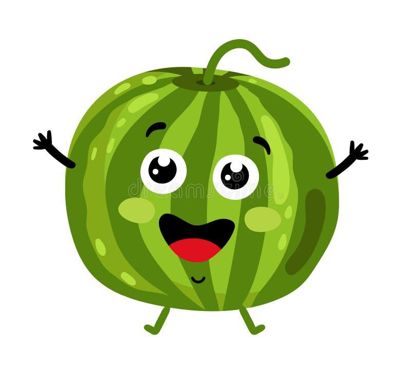 Αστείος απομονωμένος καρπούζι χαρακτήρας κινουμένων σχεδίων φρούτων διανυσματική απεικόνιση
