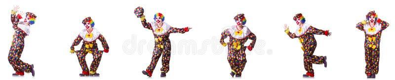 Αστείος αρσενικός κλόουν που απομονώνεται στο λευκό στοκ εικόνα με δικαίωμα ελεύθερης χρήσης
