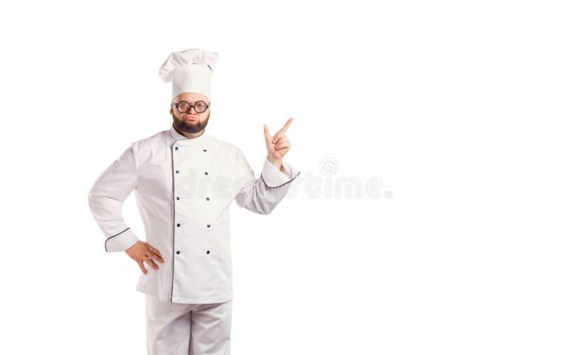 Αστείος αρχιμάγειρας με το μάγειρα γενειάδων στοκ φωτογραφία με δικαίωμα ελεύθερης χρήσης