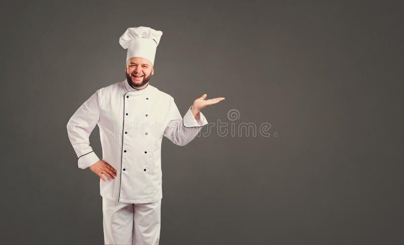 Αστείος αρχιμάγειρας με το μάγειρα γενειάδων στοκ φωτογραφίες