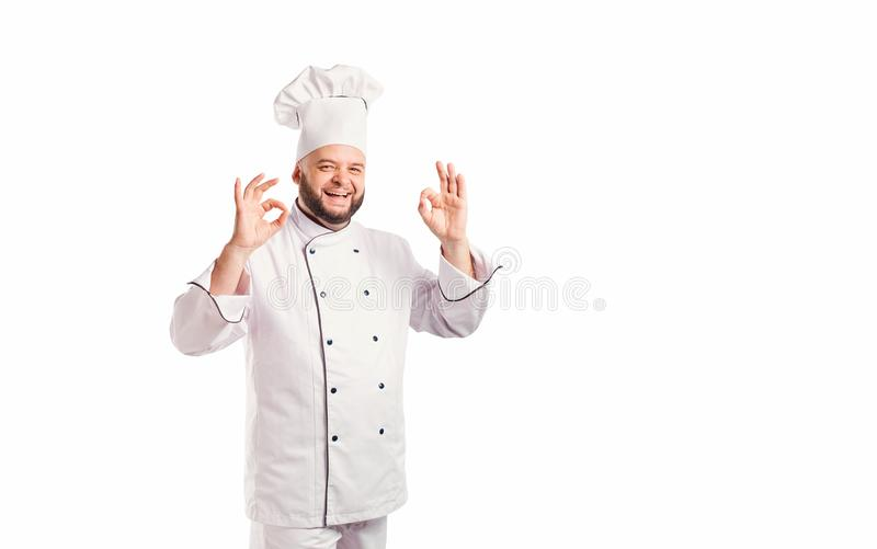 Αστείος αρχιμάγειρας με το μάγειρα γενειάδων στοκ εικόνες με δικαίωμα ελεύθερης χρήσης