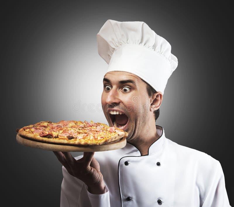 Αστείος αρχιμάγειρας πιτσών στοκ φωτογραφίες με δικαίωμα ελεύθερης χρήσης