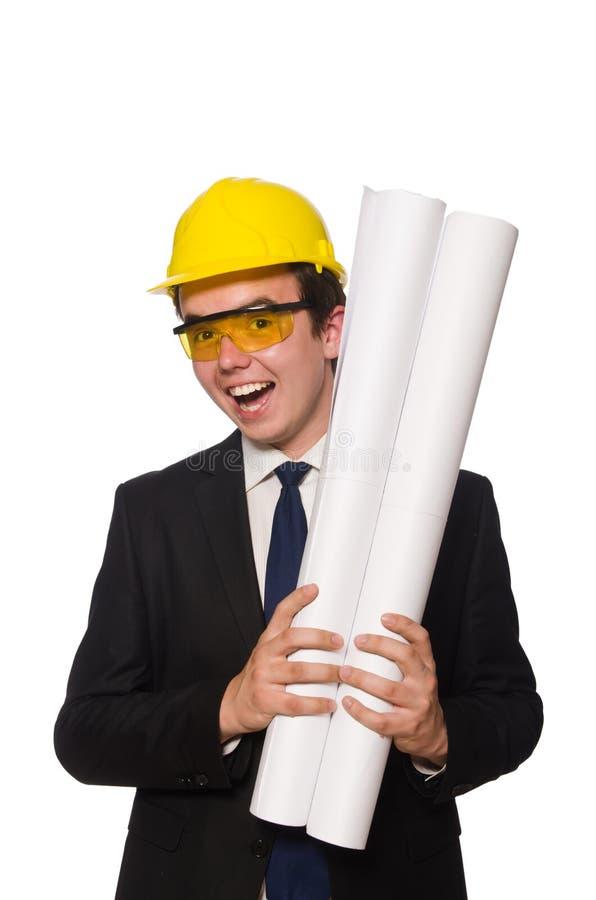 Download Αστείος αρχιτέκτονας με τα σχέδια στο λευκό Στοκ Εικόνα - εικόνα από ανάδοχος, σχέδιο: 62706919