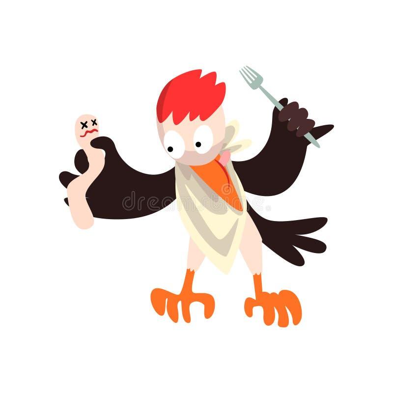 Αστείος δρυοκολάπτης με νεκρό και δίκρανο, χαρακτήρας κινουμένων σχεδίων πουλιών που πηγαίνουν να φάει τη διανυσματική απεικόνιση ελεύθερη απεικόνιση δικαιώματος