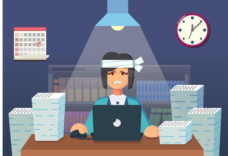 Αστείος επίπεδος χαρακτήρας κινουμένων σχεδίων Κουρασμένη συνεδρίαση εργαζομένων γραφείων και εργασία όλη τη νύχτα επίσης corel σ ελεύθερη απεικόνιση δικαιώματος