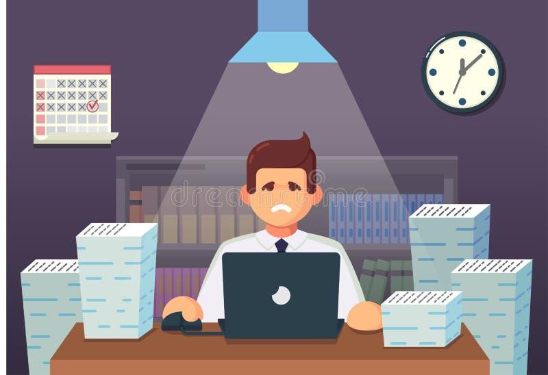 Αστείος επίπεδος χαρακτήρας κινουμένων σχεδίων Κουρασμένη συνεδρίαση εργαζομένων γραφείων και εργασία όλη τη νύχτα επίσης corel σ διανυσματική απεικόνιση