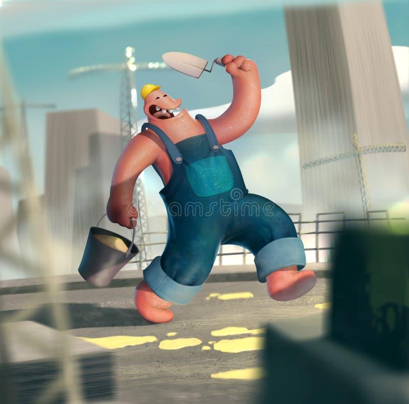 Αστείος επιστάτης εργαζομένων στην κατασκευή κασετινών ελεύθερη απεικόνιση δικαιώματος
