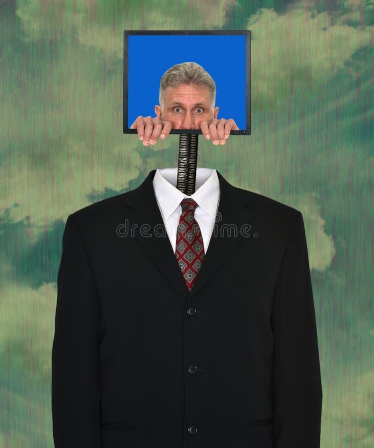 Αστείος επιχειρηματίας, τεχνολογία, υπολογιστής, κοστούμι στοκ εικόνα με δικαίωμα ελεύθερης χρήσης