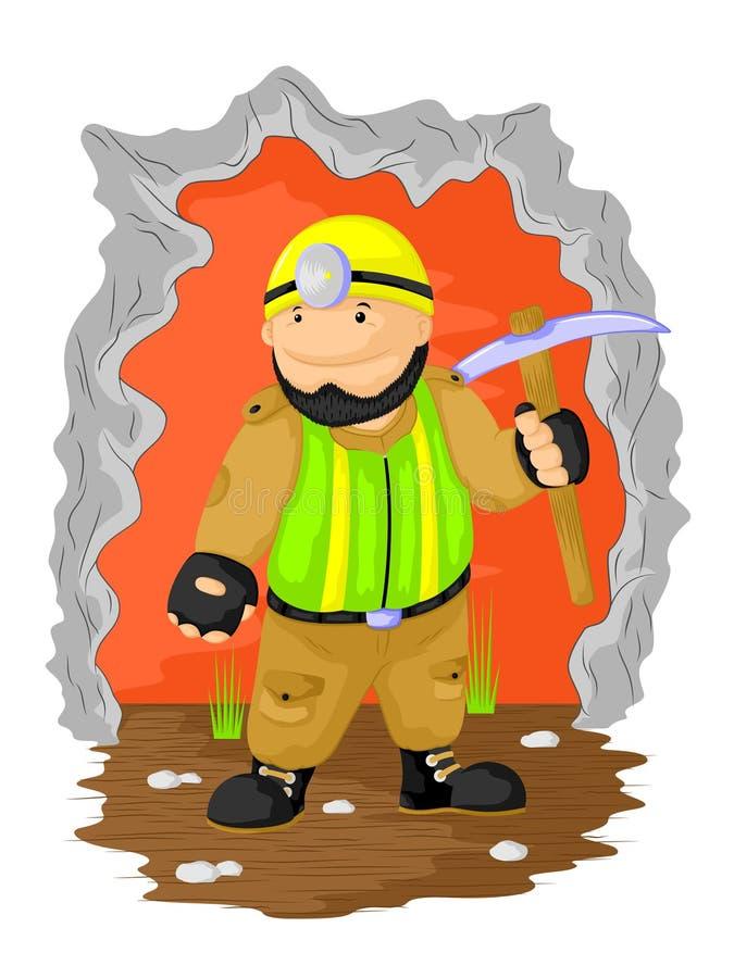 Αστείος εργαζόμενος ορυχείων διανυσματική απεικόνιση