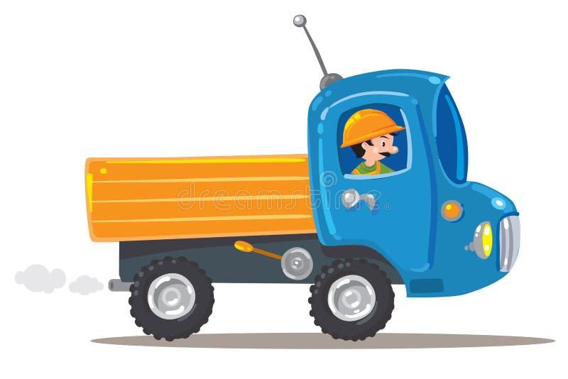 Αστείος εργαζόμενος στο μικρό συμπαθητικό φορτηγό απεικόνιση αποθεμάτων