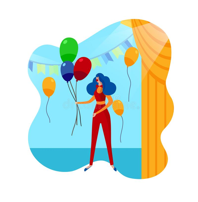 Αστείος θηλυκός χαρακτήρας κλόουν στο τσίρκο Κόμμα παιδιών ελεύθερη απεικόνιση δικαιώματος
