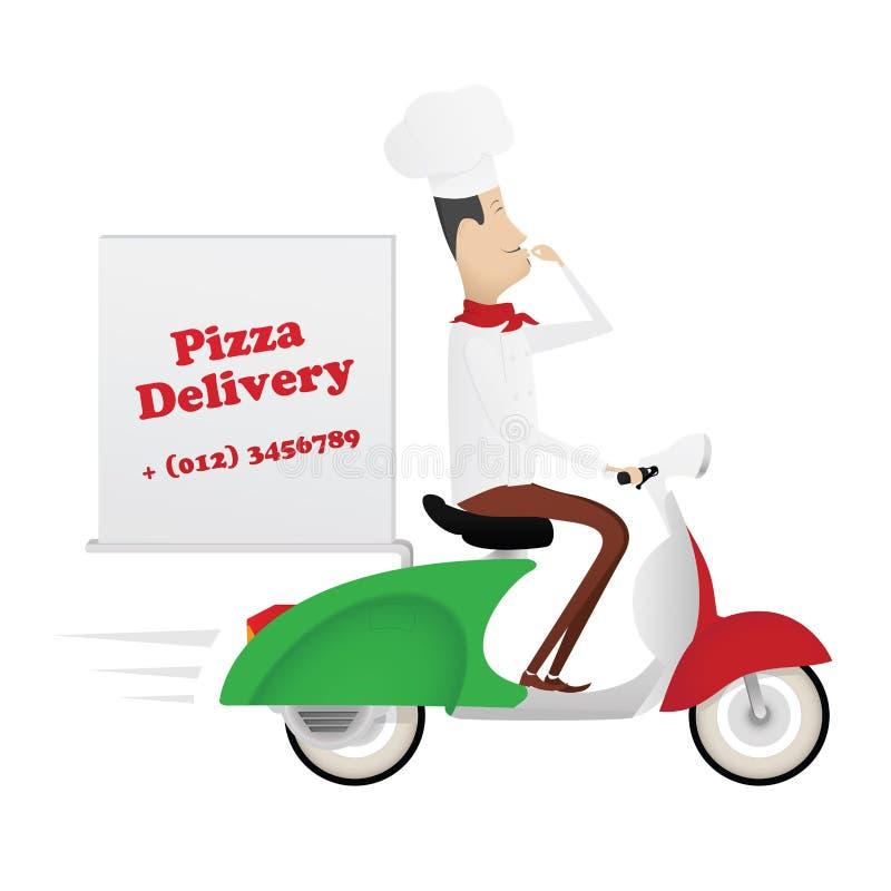 Αστείος ιταλικός αρχιμάγειρας που παραδίδει την πίτσα σε ένα μοτοποδήλατο ελεύθερη απεικόνιση δικαιώματος