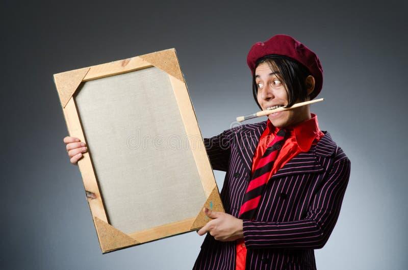 Download Αστείος καλλιτέχνης με το έργο τέχνης του Στοκ Εικόνες - εικόνα από paintings, σχέδιο: 62708294