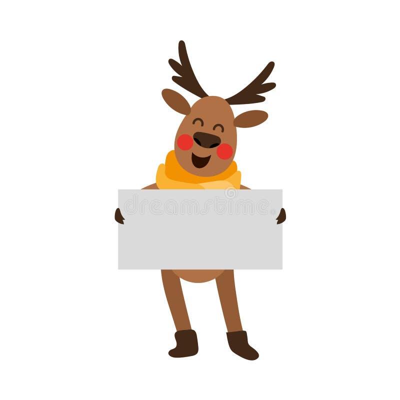 Αστείος κενός πίνακας εκμετάλλευσης ταράνδων Χριστουγέννων whint ελεύθερη απεικόνιση δικαιώματος