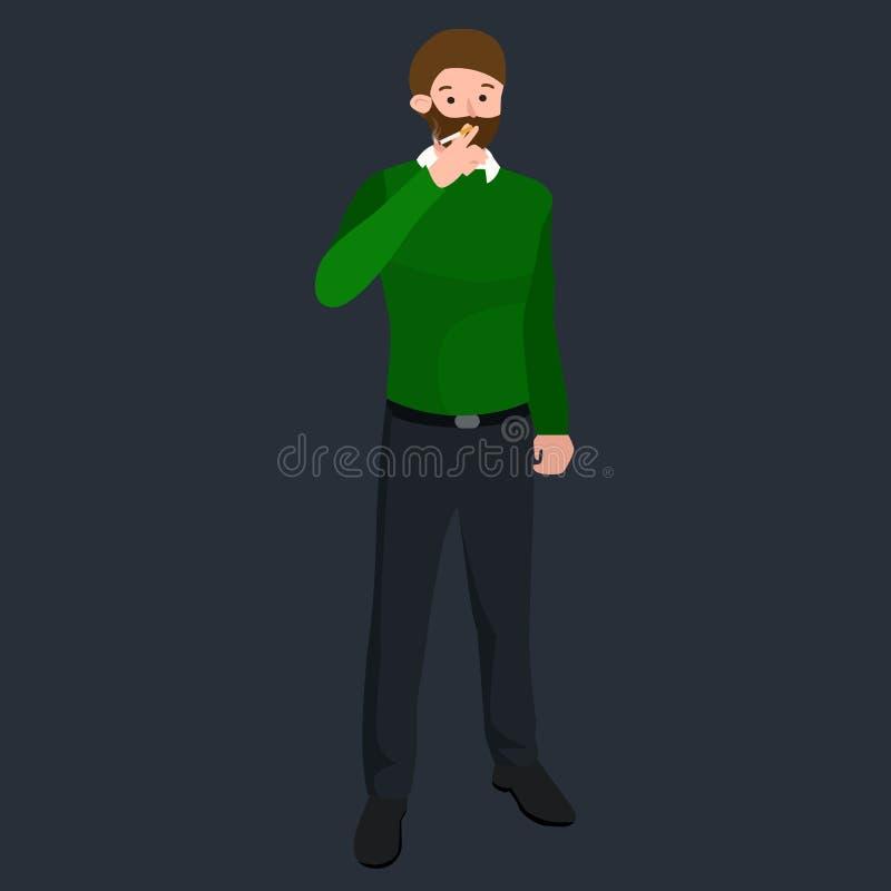 Αστείος κινούμενων σχεδίων γραφείων χαρακτήρας κινουμένων σχεδίων τσιγάρων εργαζομένων καπνίζοντας, διανυσματική απεικόνιση ελεύθερη απεικόνιση δικαιώματος
