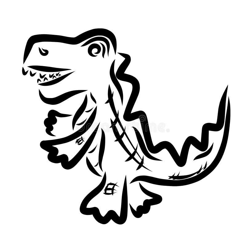 Αστείος κροκόδειλος περπατήματος με το ανοικτό στόμα, μαύρο σχέδιο ελεύθερη απεικόνιση δικαιώματος