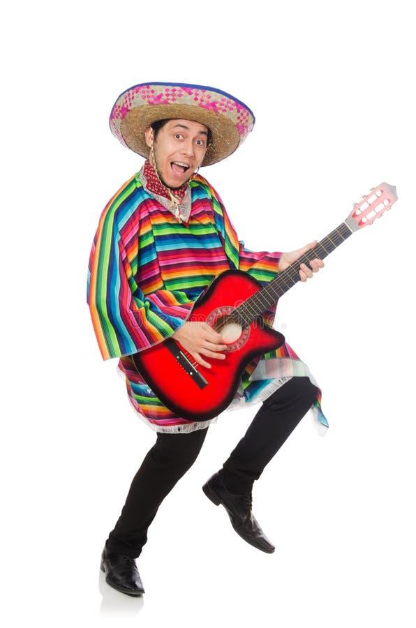Αστείος μεξικανός με την κιθάρα στοκ εικόνα με δικαίωμα ελεύθερης χρήσης