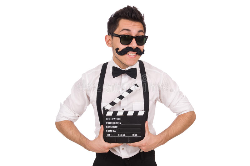 Αστείος με clapper κινηματογράφων που απομονώνεται στο λευκό στοκ φωτογραφίες με δικαίωμα ελεύθερης χρήσης
