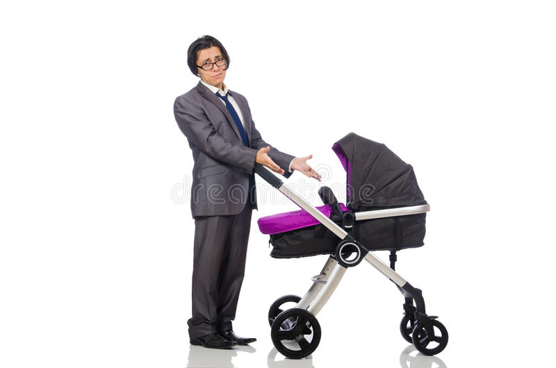Download Αστείος μπαμπάς με το μωρό και καροτσάκι στο λευκό Στοκ Εικόνες - εικόνα από αστείος, οικογένεια: 62707626