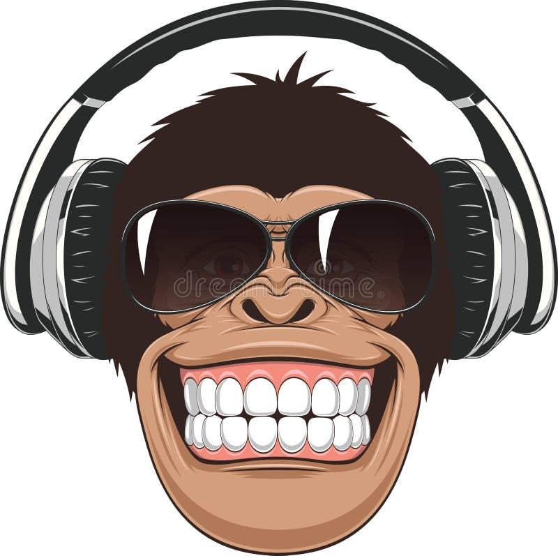 Αστείος πίθηκος με τα γυαλιά διανυσματική απεικόνιση