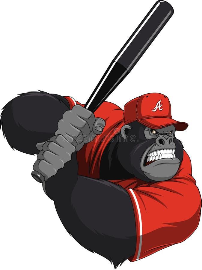 Αστείος πίθηκος ballplayer διανυσματική απεικόνιση