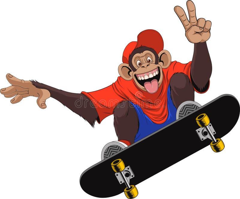 Αστείος πίθηκος skateboarder διανυσματική απεικόνιση