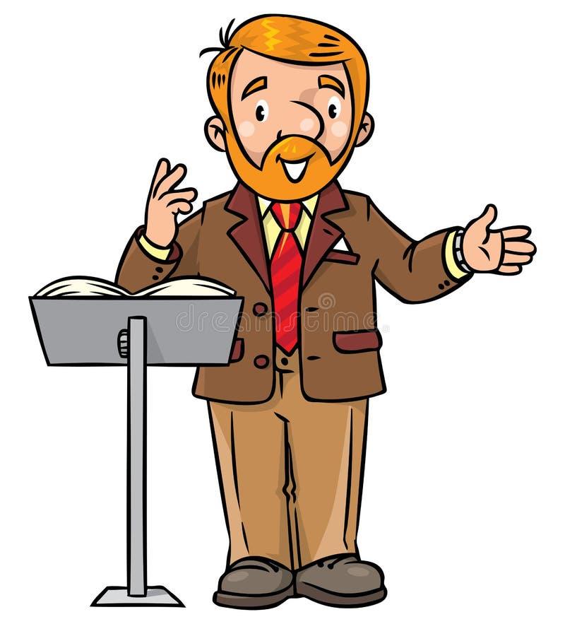 Αστείος πανεπιστημιακός ομιλητής ή δάσκαλος διανυσματική απεικόνιση