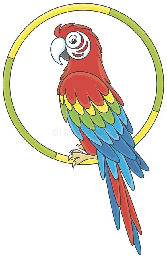 Αστείος παπαγάλος macaw που στηρίζεται διανυσματική απεικόνιση