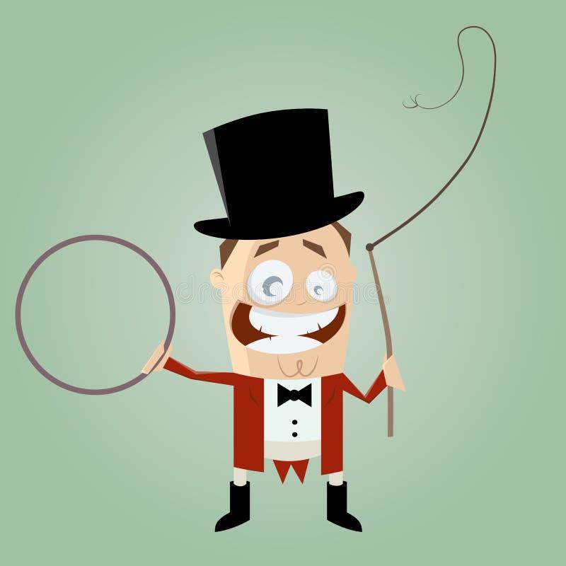 Αστείος παρουσηαστής προγράμματος τσίρκου κινούμενων σχεδίων διανυσματική απεικόνιση