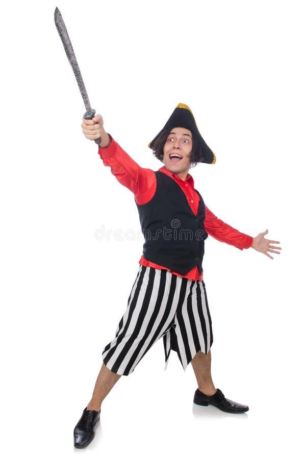 Download Αστείος πειρατής που απομονώνεται στο λευκό Στοκ Εικόνες - εικόνα από άτομο, μαχαίρι: 62704848