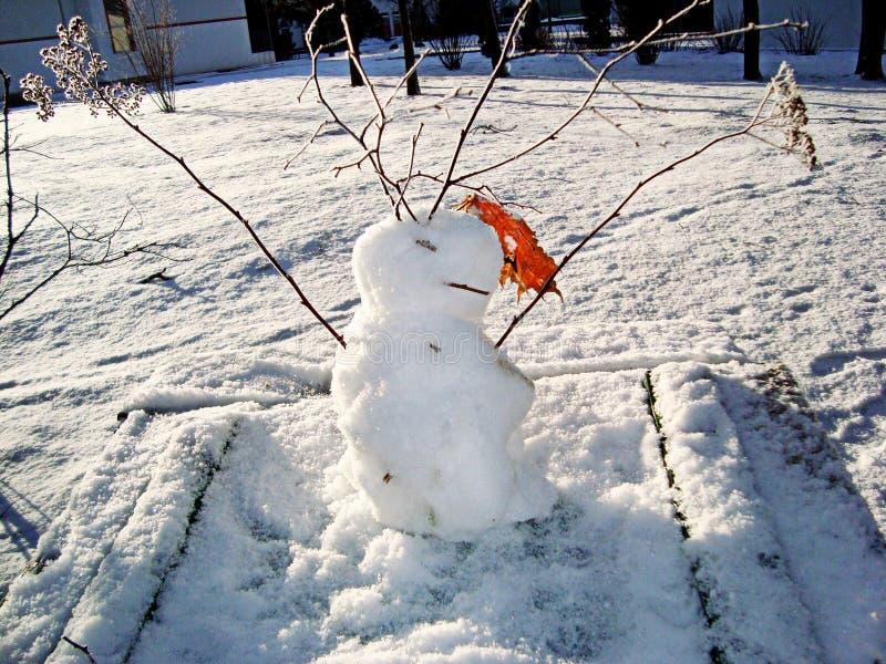 Αστείος που διακοσμείται με τον ξηρό χιονάνθρωπο κλαδίσκων στοκ εικόνα με δικαίωμα ελεύθερης χρήσης