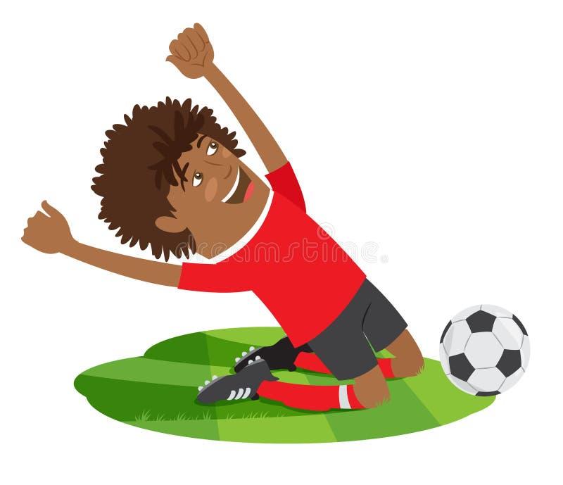Αστείος ποδοσφαιριστής ποδοσφαίρου αφροαμερικάνων που φορά το κόκκινο τ -τ-shir απεικόνιση αποθεμάτων