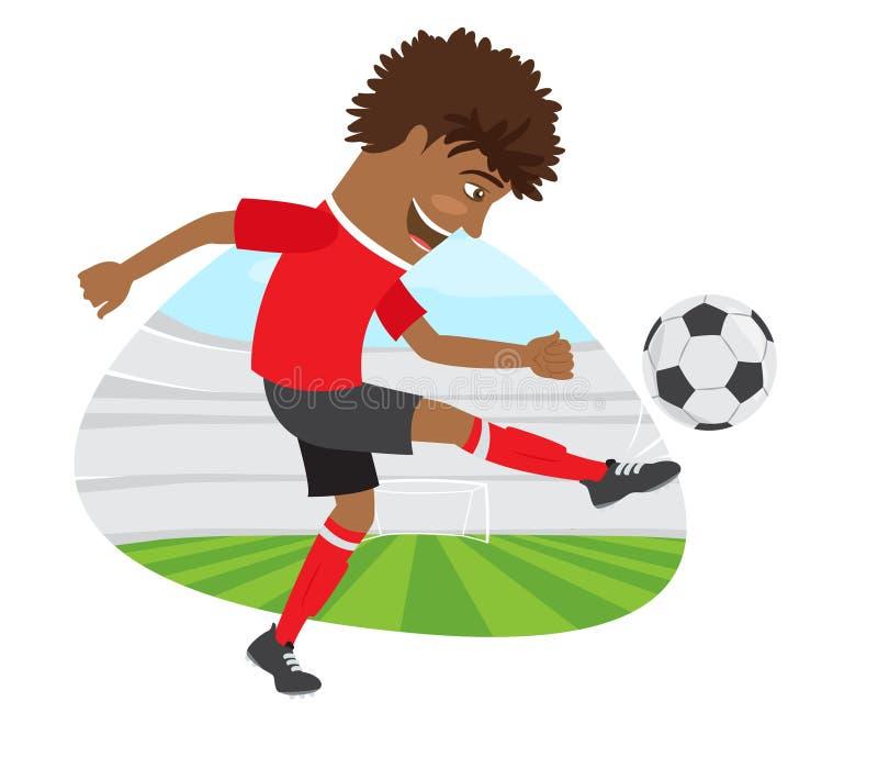 Αστείος ποδοσφαιριστής ποδοσφαίρου αφροαμερικάνων που φορά το κόκκινο τ -τ-shir ελεύθερη απεικόνιση δικαιώματος