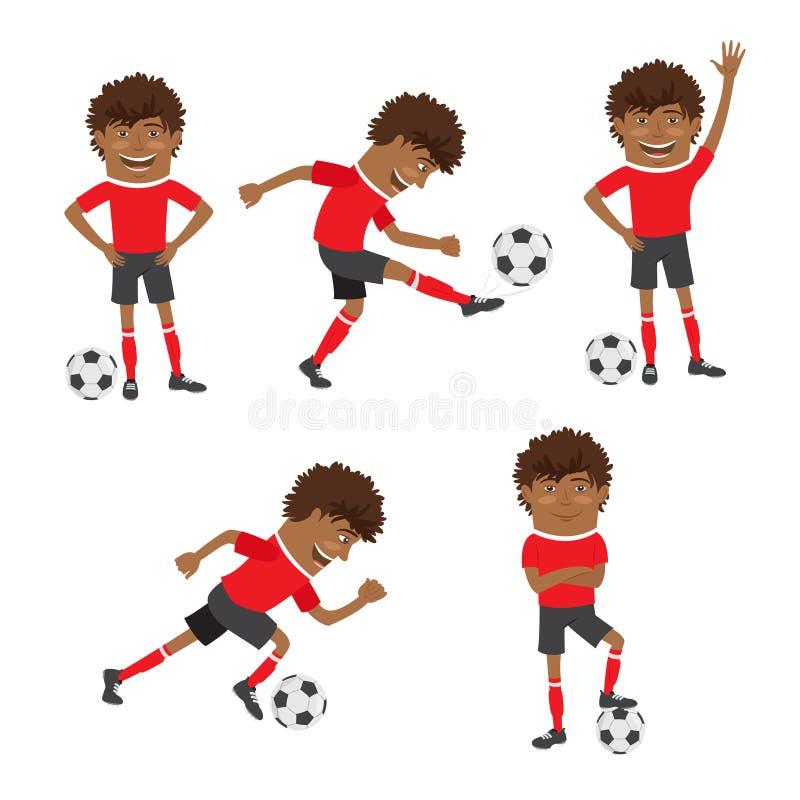 Αστείος ποδοσφαιριστής ποδοσφαίρου αφροαμερικάνων που φορά το κόκκινο τ -τ-shir διανυσματική απεικόνιση
