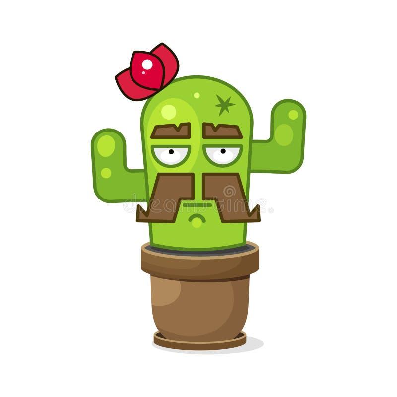 Αστείος πράσινος μεξικάνικος κάκτος o r διανυσματική απεικόνιση