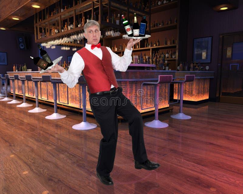 Αστείος σερβιτόρος, Bartender, οινόπνευμα, σαλόνι στοκ φωτογραφίες με δικαίωμα ελεύθερης χρήσης