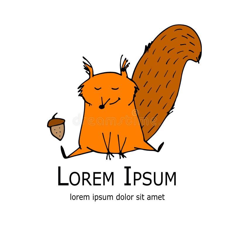 Αστείος σκίουρος με το καρύδι για το σχέδιό σας απεικόνιση αποθεμάτων