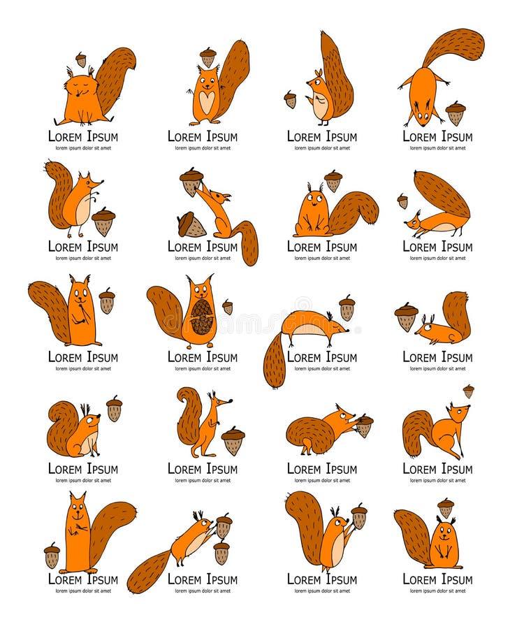 Αστείος σκίουρος με το καρύδι, συλλογή για το σχέδιό σας απεικόνιση αποθεμάτων