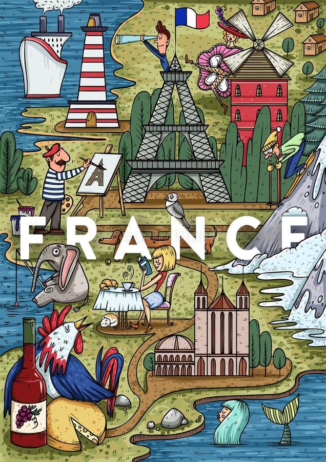 Αστείος σχεδιαζόμενος χέρι χάρτης της Γαλλίας κινούμενων σχεδίων με τις περισσότερες δημοφιλείς θέσεις ενδιαφέροντος διανυσματική απεικόνιση