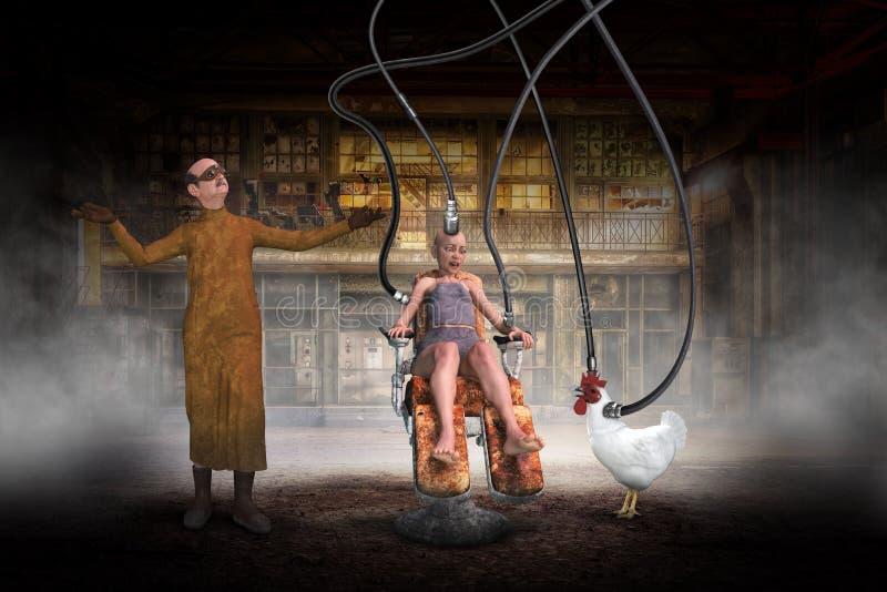 Αστείος τρελλός επιστήμονας, κοτόπουλο, πείραμα, κακό στοκ εικόνα με δικαίωμα ελεύθερης χρήσης