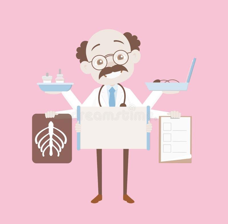 Αστείος χαμογελώντας ορθοπεδικός χειρούργος με το ιατρικό διάνυσμα αντικειμένων διανυσματική απεικόνιση
