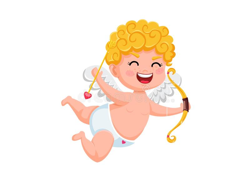 Αστείος χαρακτήρας κινουμένων σχεδίων cupid με το τόξο και το βέλος Διανυσματικά στοιχεία απεικόνισης της ημέρας ενός βαλεντίνου  διανυσματική απεικόνιση