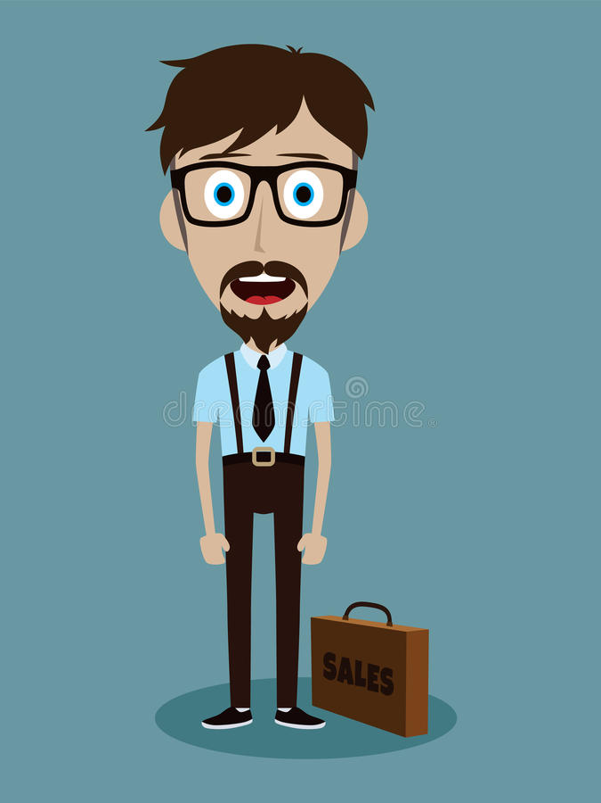 αστείος χαρακτήρας κινουμένων σχεδίων τύπων πωλητών γραφείων επιχειρηματιών ελεύθερη απεικόνιση δικαιώματος