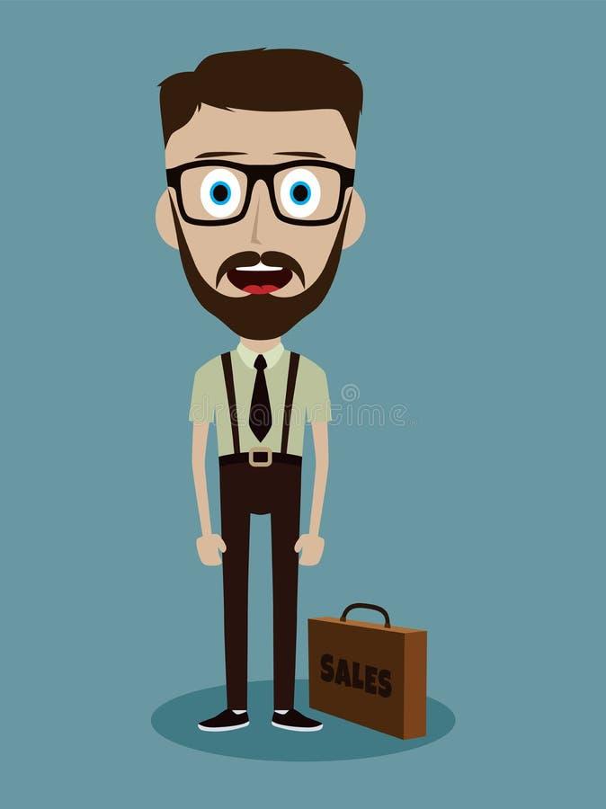 αστείος χαρακτήρας κινουμένων σχεδίων τύπων πωλητών γραφείων επιχειρηματιών απεικόνιση αποθεμάτων