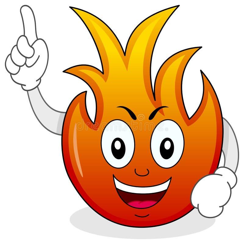 Αστείος χαρακτήρας κινουμένων σχεδίων φλογών πυρκαγιάς διανυσματική απεικόνιση
