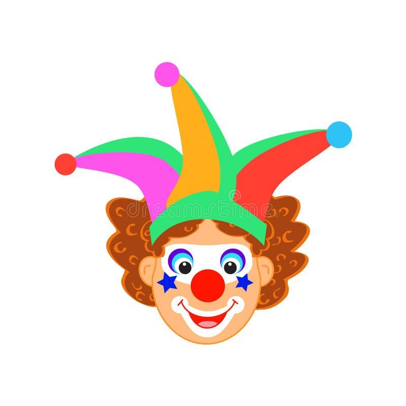 Αστείος χαρακτήρας κλόουν κόμματος παιδιών γενεθλίων καρναβαλιού μασκών κλόουν που απομονώνεται ελεύθερη απεικόνιση δικαιώματος
